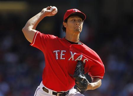 Texas Rangers Yu Darvish pitches against the Los Angeles Angels in Arlington, Texas