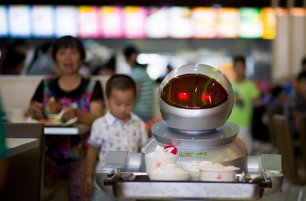 A restaurant in China lets robots do a lot of the work