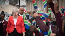 Theresa May mocked after dancing with school children during South Africa visit