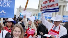 Protesters rally outside Supreme Court over wedding cake case