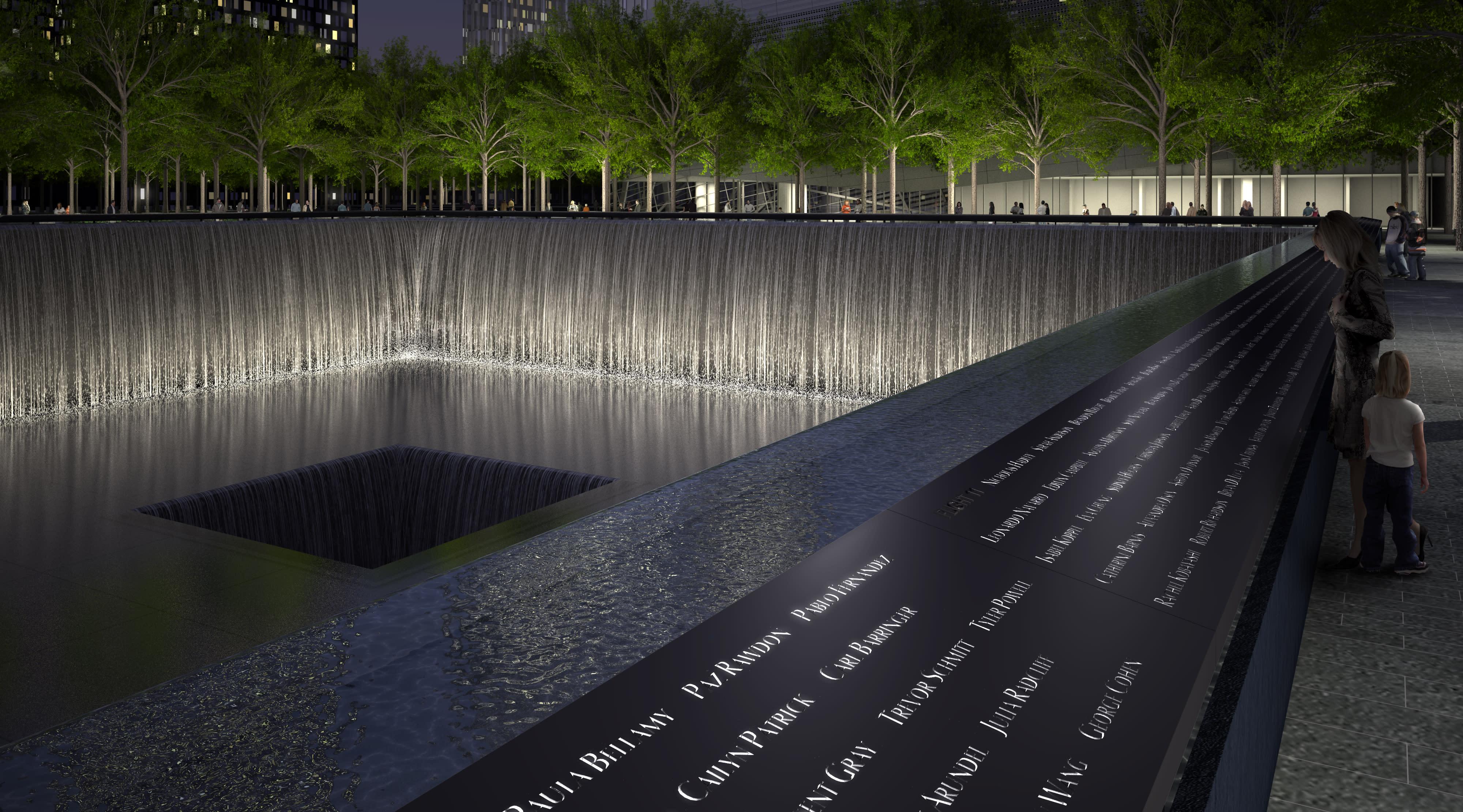 A rendering of the Memorial pool names parapet. Squared Design Lab