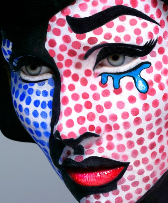 "<p>In a homage to Roy Lichtenstein, this cartoon inspired interpretation of ""Crying Girl"" is a new form of Pop Art. And we love it. <i>(Photo: <a href=""http://www.minimalisti.com/decoration/09/35-halloween-make-ideas-men-women-2012.html"" rel=""nofollow noopener"" target=""_blank"" data-ylk=""slk:minimalisti"" class=""link rapid-noclick-resp"">minimalisti</a>)</i></p>"