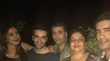 Photos: Priyanka strikes a pose with Karan Johar and Manish Malhotra at her bash