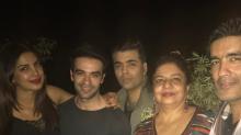Photos: Priyanka strikes a pose with Karan Johar and Manish Malhotra at her bash