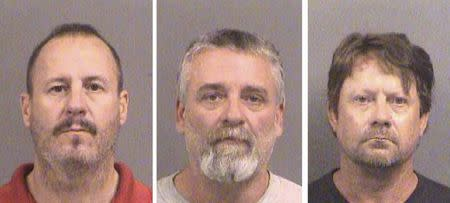 Curtis Allen 49, (L to R), Gavin Wright, 49 and Patrick Eugene Stein, 47 are shown in these booking photos in Wichita, Kansas provided October 15, 2016. Photo courtesy of Sedgwick County Sheriff's Office/Handout via REUTERS