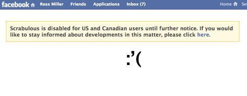 Scrabulous disabled for US, Canadian Facebook users
