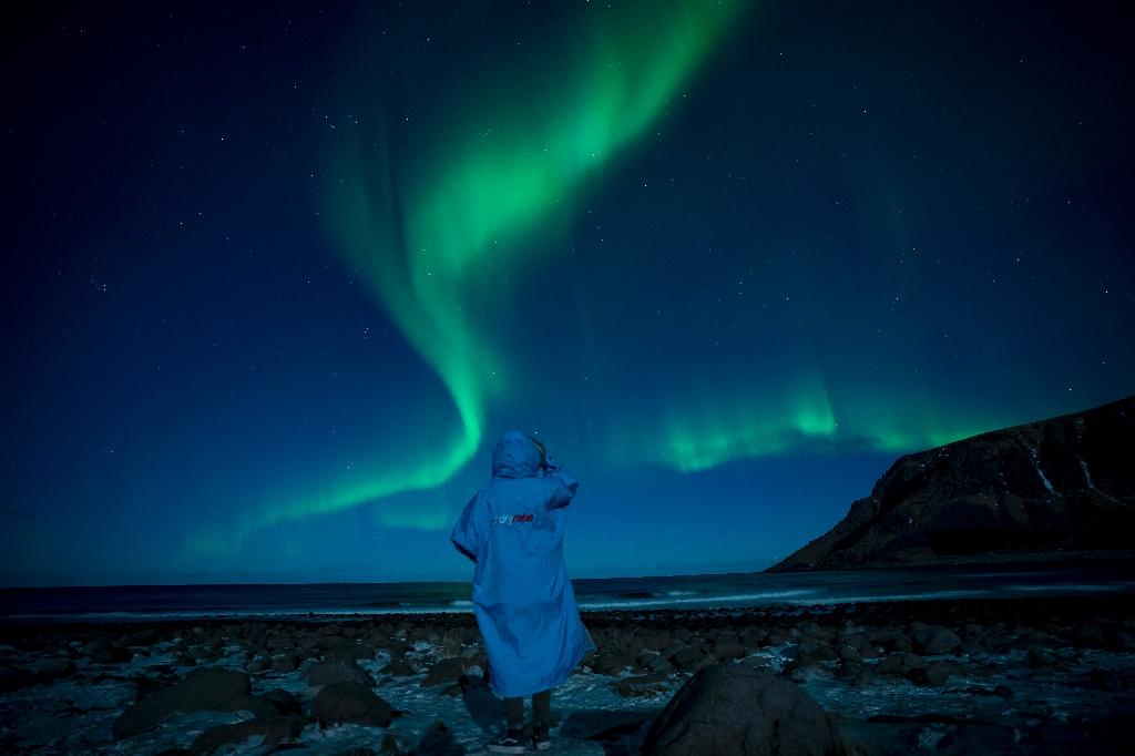 The Northern Lights (Aurora borealis) above the Arctic Circle in northern Norway. (AFP Photo/Olivier MORIN)