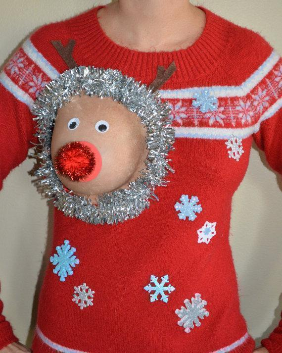 sexy ugly christmas sweater is perfect for breastfeeding - Reindeer Christmas Sweater