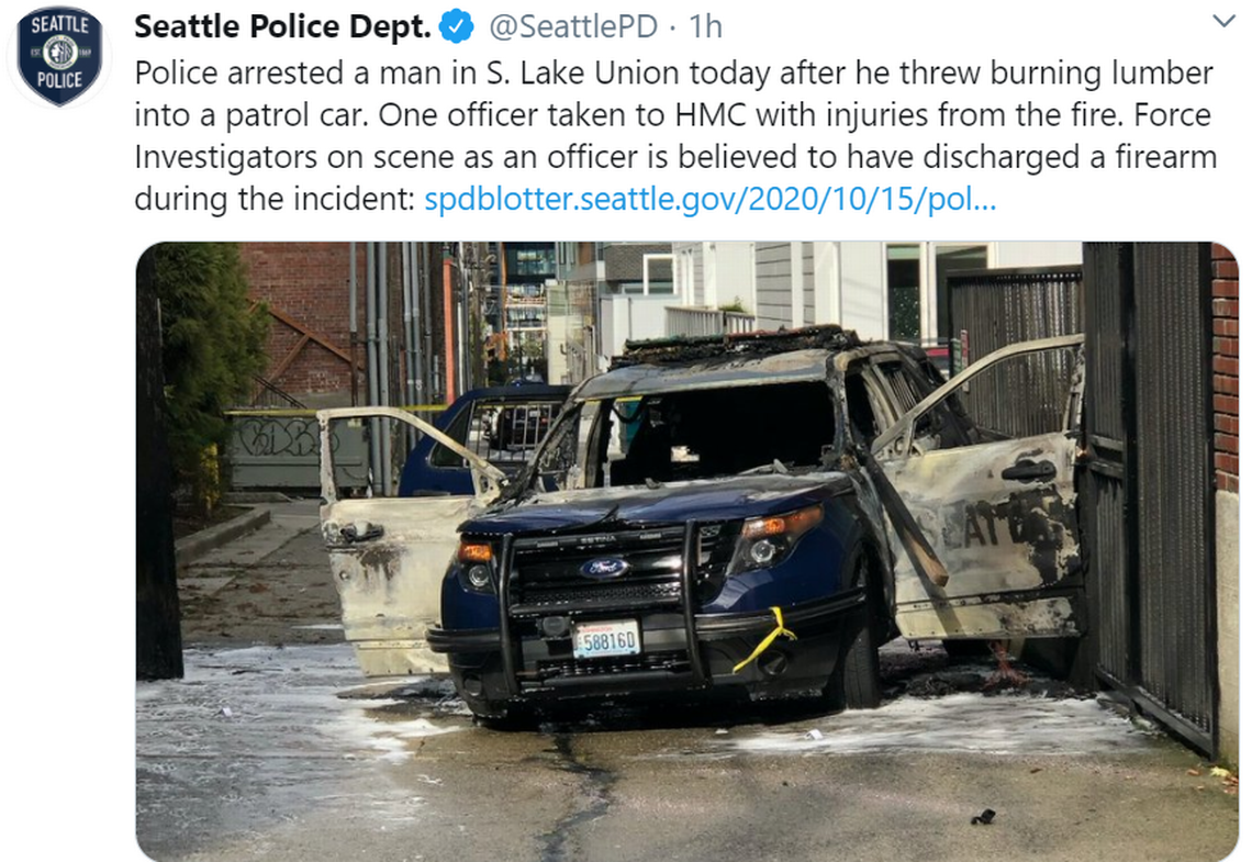 Video shows man set Seattle patrol car on fire with torch while officer was inside