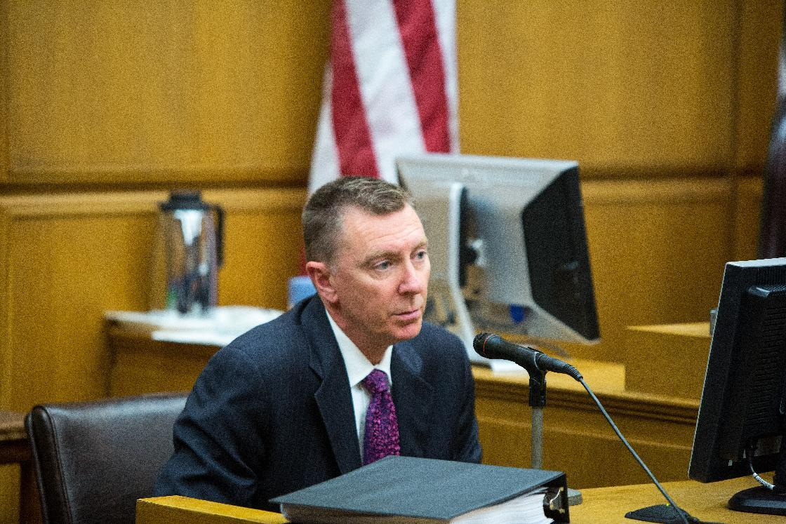 Dr. John E. Deasy, the Superintendent of the Los Angeles Unified School District testifies Monday Jan. 27, 2014, in the Superior Court of Los Angeles County on the opening day of Vergara v. The State of California. The lawsuit was filed in May 2012 on behalf of nine public school students from across California over teacher tenure laws. (AP Photo/Monica Almeida, Pool)