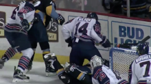 ECHL player ejected after seven cross-checks to fallen player (Video)