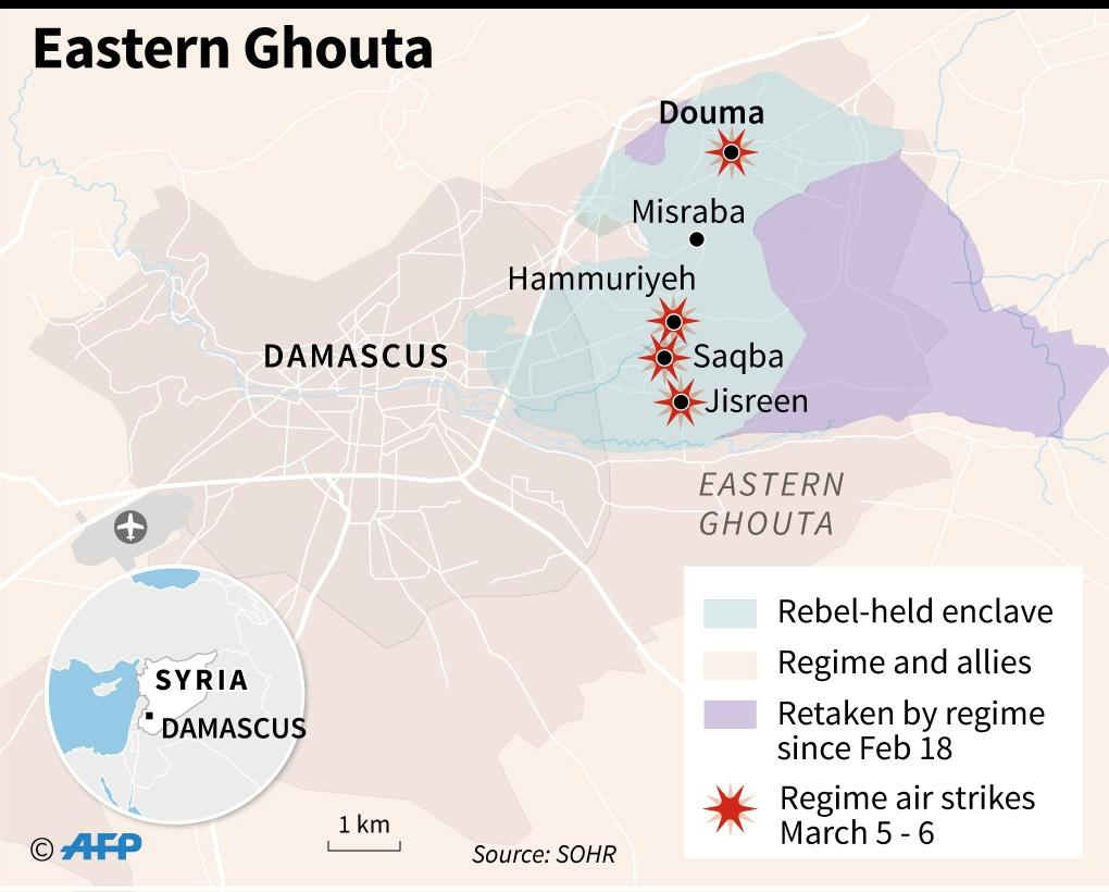 The situation on the ground in Eastern Ghouta, near Damascus. (AFP Photo/Gillian HANDYSIDE)