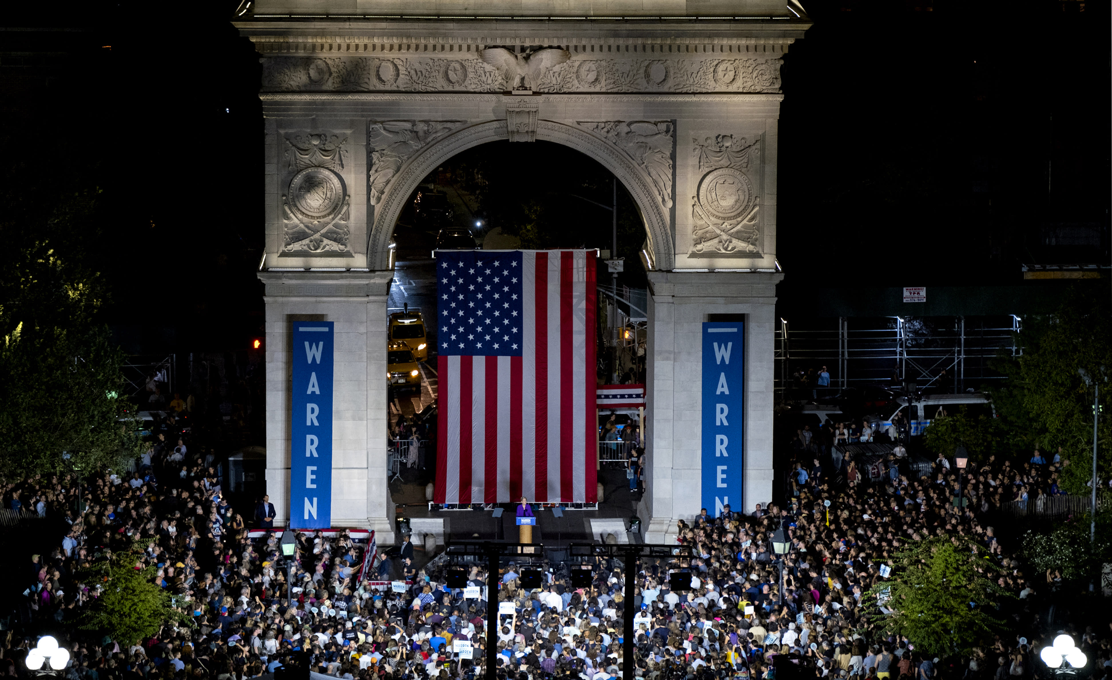 Democratic presidential candidate U.S. Sen. Elizabeth Warren addresses supporters at a rally at Washington Square Park, Monday, Sept. 16, 2019, in New York. (AP Photo/Craig Ruttle)