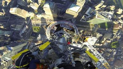 Raw: GoPro Video of WTC Spire Lowered