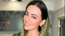 Sana Khan's Grey Ensemble And Green Dupatta Is What You Should Bookmark For Raksha Bandhan 2020