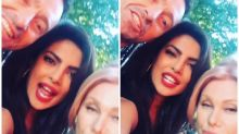 Priyanka gets goofy with Hugh Jackman and his wife during the Global Citizen Festival!