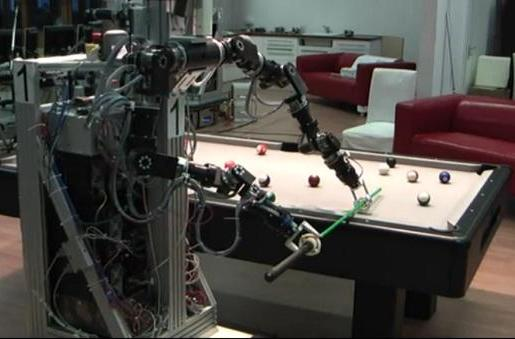 Dual-armed Teutonic robot plays pool, carefully learns to hustle foolish humans