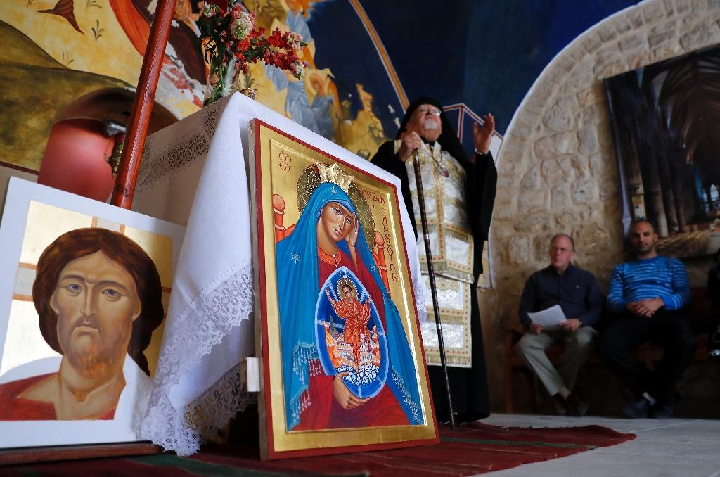 According to tradition, Luke the Evangelist painted the first Christian icon in 60 AD, today Bethlehem is seeing renewed interest in the art form (AFP Photo/THOMAS COEX)