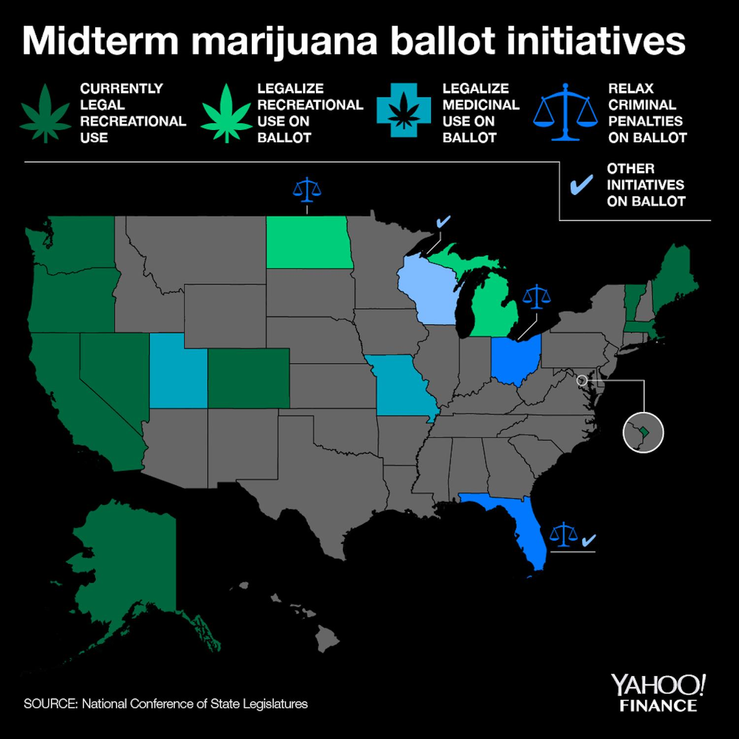 These 6 states will have weed-related ballot initiatives on Tuesday