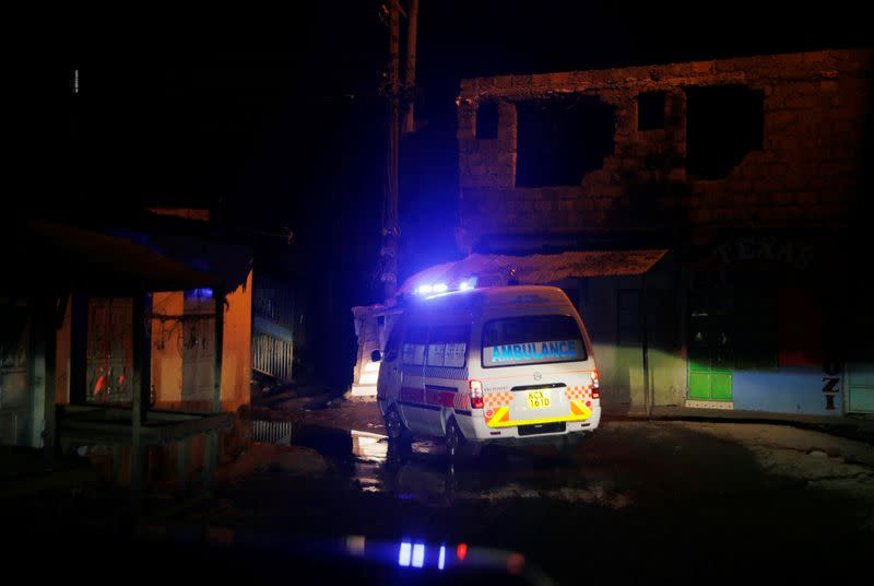 An ambulance drives to a pregnant woman during the coronavirus night curfew in Nairobi