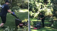 Firefighters' heartwarming act for 80-year-old man who fell while mowing lawn