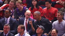 Barack Obama shows up in virtual stands as stars come out for NBA Finals