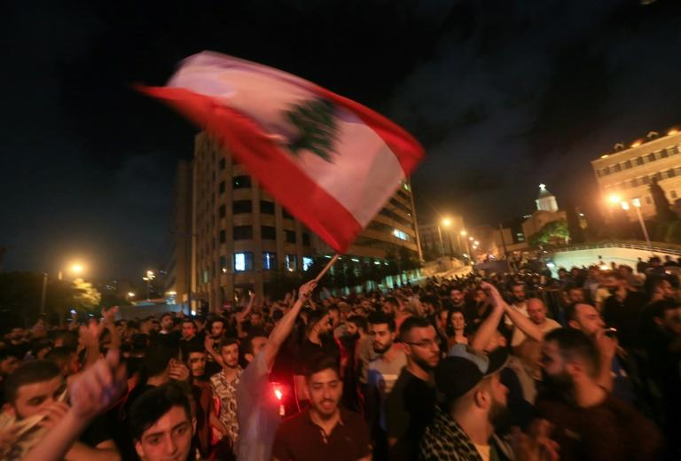Demonstrators took to the streets of Lebanon Thursday evening for the largest protests in several years (AFP Photo/STRINGER)