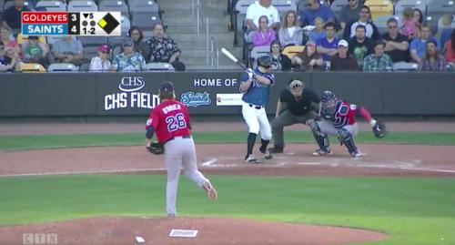 The Goldeneyes catcher was determined to make this catch. (Screenshot via @TroyPSilva on Twitter)