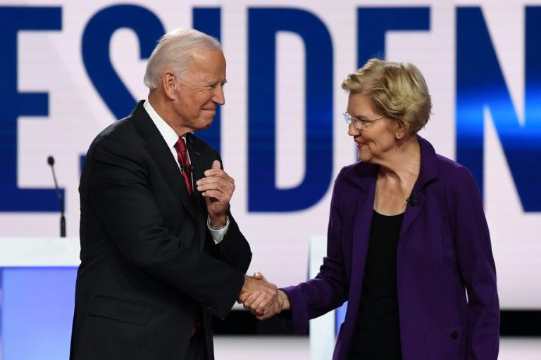 Progressive Elizabeth Warren is on the rise and challenging Joe Biden for frontrunner status in the Democratic White House race (AFP Photo/SAUL LOEB)