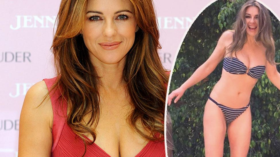 Elizabeth Hurley, 54, poses in a bikini in poolside snap