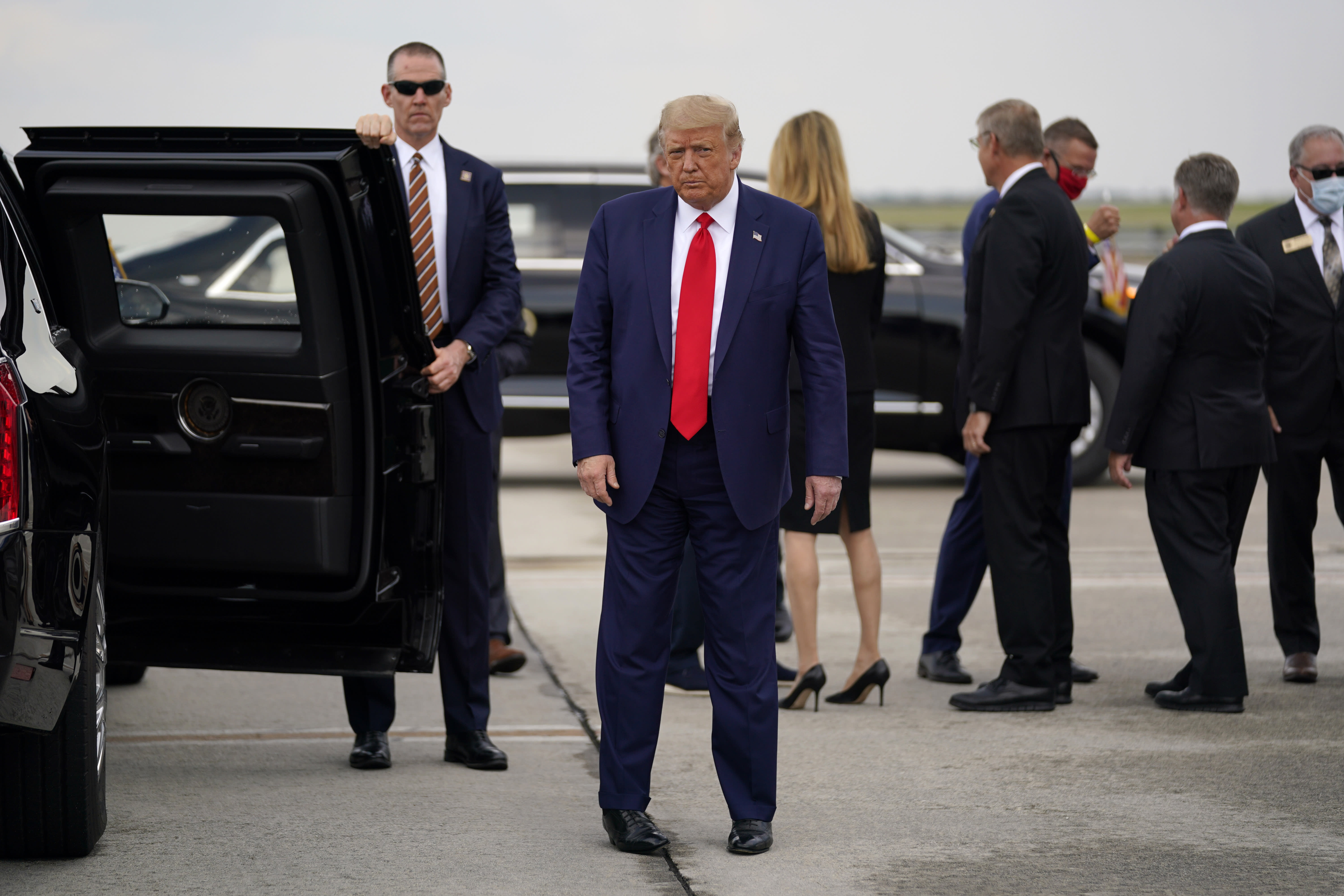President Donald arrives at Hartsfield-Jackson International Airport, Wednesday, July 15, 2020, in Atlanta. (AP Photo/Evan Vucci)