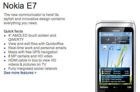 Nokia E7 up for pre-order in the states with presumed April delivery