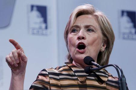 Democratic presidential candidate Hillary Clinton delivers remarks at the Congressional Hispanic Caucus Institute's 38th annual Awards Gala in Washington
