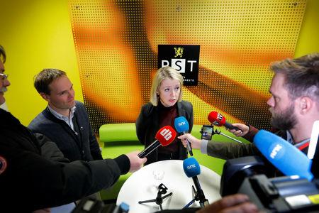 Marie Benedicte Bjornland, chief of PST (Norwegian Police Security Service) speaks during a news conference about a knife a attack in a supermarket, in Oslo, Norway, January 18, 2019. NTB Scanpix/Fredrik Hagen via REUTERS ATTENTION EDITORS - THIS IMAGE WAS PROVIDED BY A THIRD PARTY. NORWAY OUT. NO COMMERCIAL OR EDITORIAL SALES IN NORWAY.