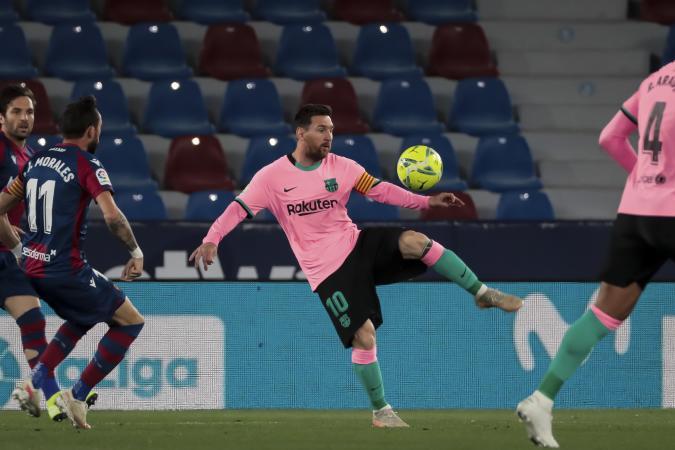 FC Barcelona's forward Lionel Messi  during   spanish La Liga match between Levante UD and Futbol Club Barcelona  at Ciutat de Valencia   Stadium on May  11, 2021. (Photo by Jose Miguel Fernandez/NurPhoto via Getty Images)