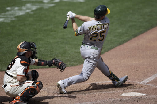 Piscotty HR, 5 RBIs, A's rout Giants 15-3 for 4th win in row