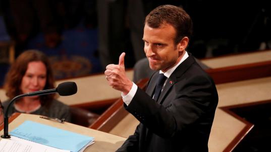Macron's veiled jab at Trump in speech to Congress
