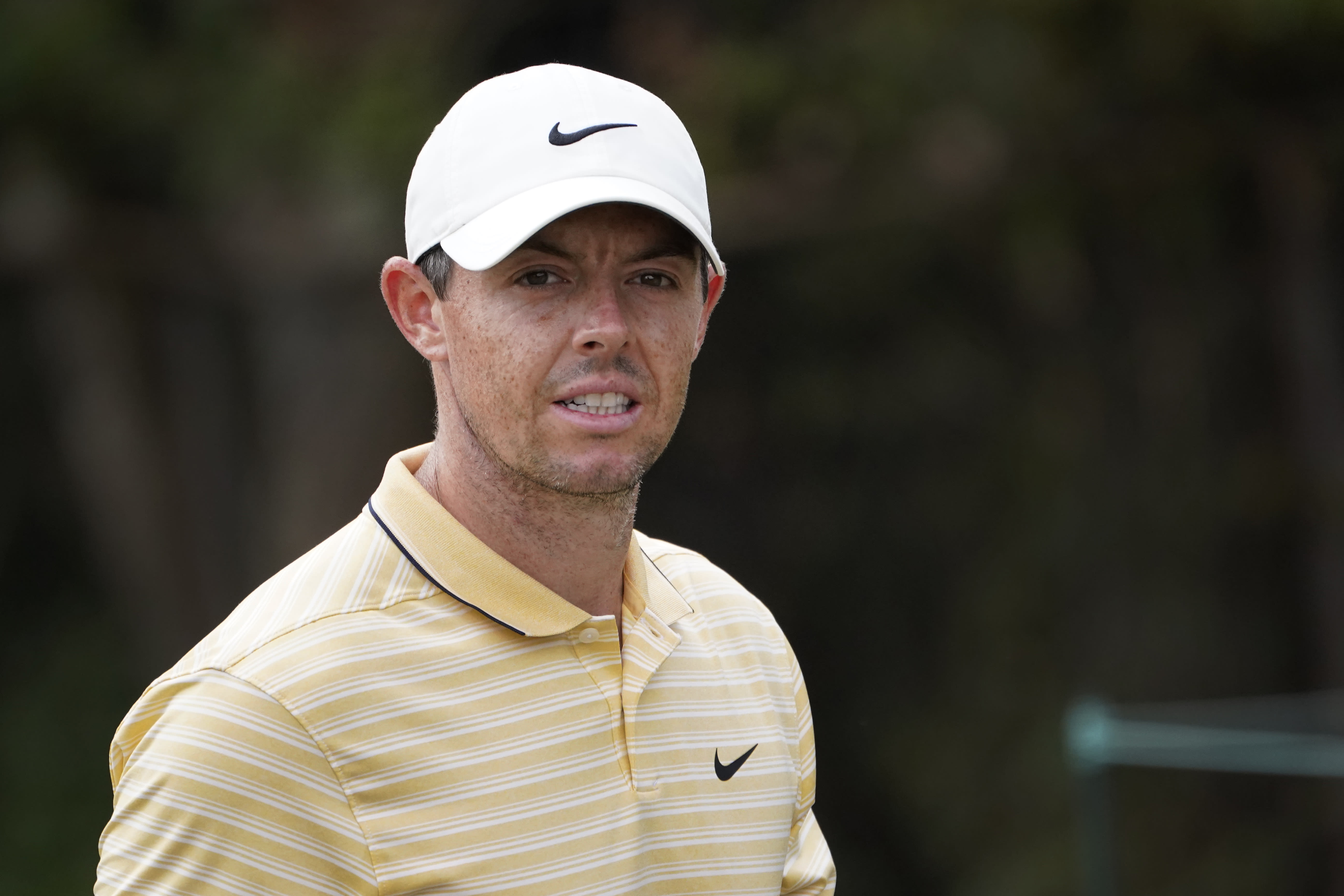 Rory McIlroy, of Northern Ireland, looks down the second fairway during the third round Saturday, Aug. 29, 2020, for the BMW Championship golf tournament at the Olympia Fields Country Club in Olympia Fields, Ill. (AP Photo/Charles Rex Arbogast)