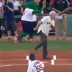 First pitch catches photographer off guard, and in the family jewels