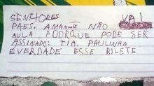 Aos 5 anos, garotinho faz bilhete em nome da professora para não ir à escola
