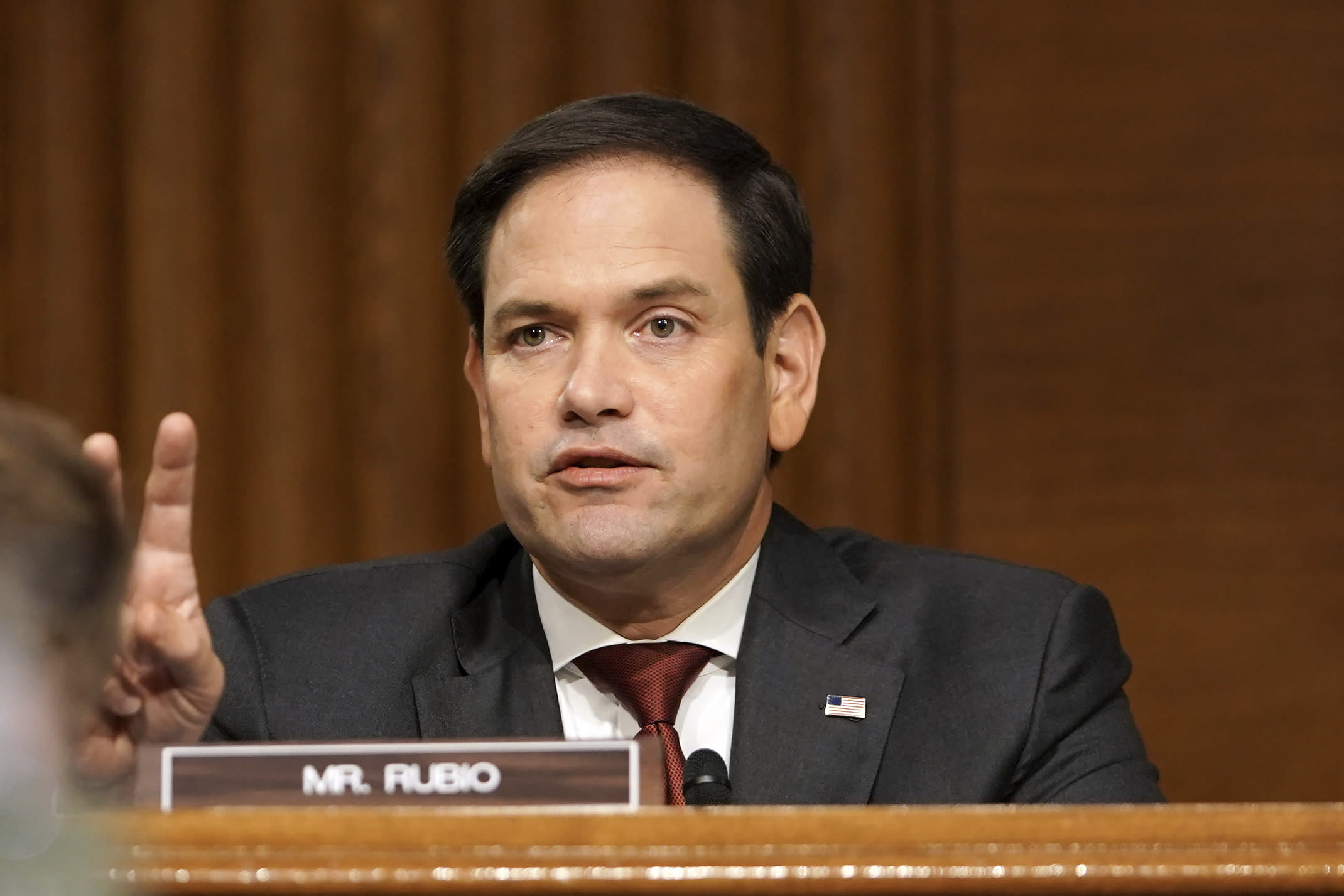 Sen. Marco Rubio, R-Fla., asks a question to Secretary of State Mike Pompeo during a Senate Foreign Relations committee hearing on the State Department's 2021 budget on Capitol Hill Thursday, July 30, 2020, in Washington. (Greg Nash/Pool via AP)
