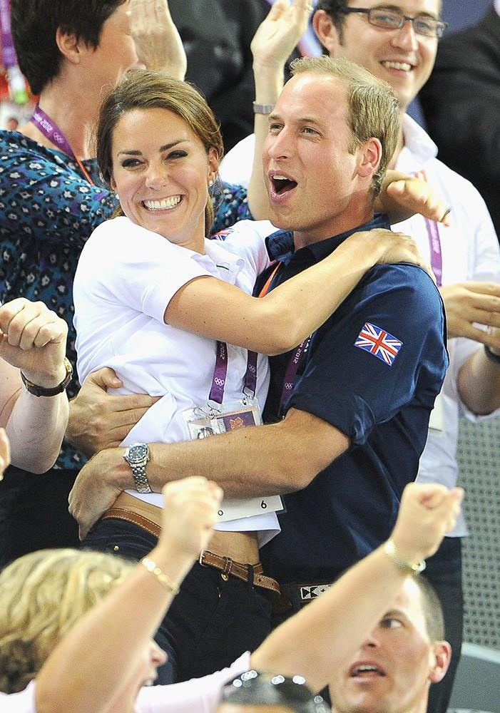 Wills and Kate celebrate a big win for the UK during the Olympics.