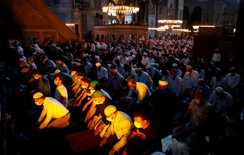 FILE PHOTO: Friday prayers at Hagia Sophia Grand Mosque for the first time in 86 years, in Istanbul
