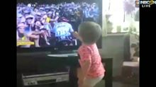 Cyclist's son goes crazy watching dad win Tour de France Stage 15