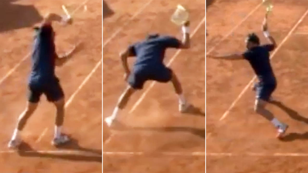 Tennis player loses the plot in insane racquet-smashing meltdown