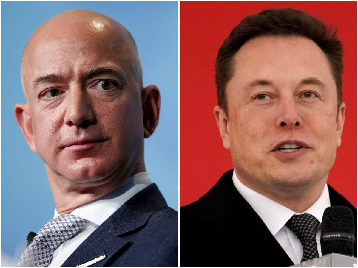 Elon Musk appeared to make another dig at rival Jeff Bezos over a report that Musk's attention is drifting away from Tesla