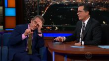 Colbert calls out a 'horrified' Hugh Laurie for not writing a thank-you note