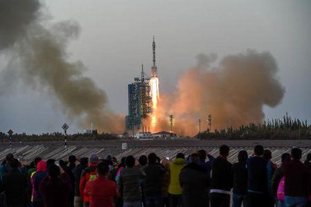 Shenzhou-11 manned spacecraft carrying astronauts Jing Haipeng and Chen Dong blasts off from the launchpad in Jiuquan