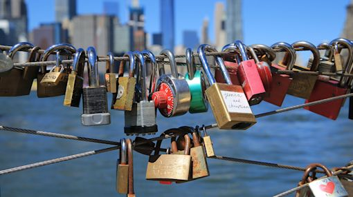 Love locks on the Brooklyn waterfront