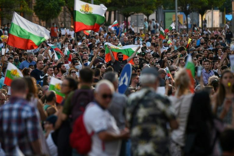 The gatherings have attracted up to 10,000 people and have drawn people from across the political spectrum (AFP Photo/NIKOLAY DOYCHINOV)